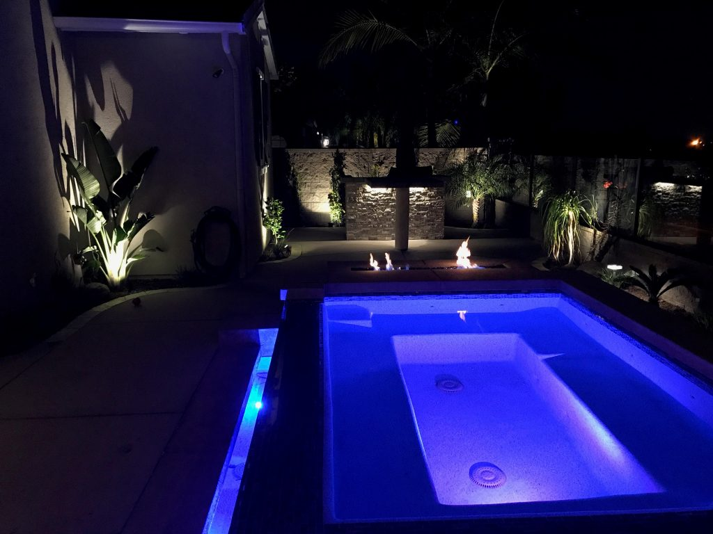 custom spa in backyard